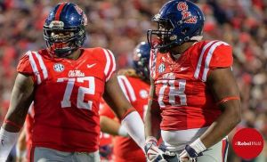 Aaron Morris and Laremy Tunsil are two of the five returning starters on the O-line for the Rebels. (Photo credit: Bentley Breland, The Rebel Walk)