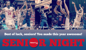 Ole Miss will honor five players on Senior Night Saturday. (Photo credit: Bentley Breland; Graphic: Bo Pentecost)