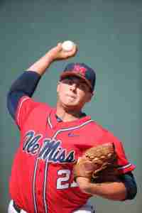 Brady Bramlett pitched seven solid innings for the Rebels. (Photo credit: Joshua McCoy, Ole Miss Athletics)