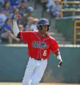 Errol Robinson led the Rebels at the plate, going 3-for-4. (Photo credit: Joshua McCoy, Ole Miss Athletics)