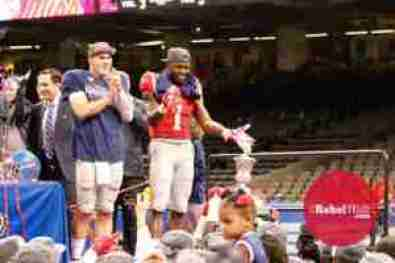 Chad Kelly and Laquon Treadwell celebrate the Rebels' win in the Allstate Sugar Bowl. (Photo credit: Amanda Swain, The Rebel Walk)