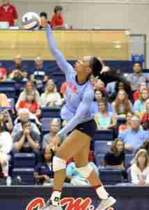 Senior middle blocker Nakeyta Clair, shown here in Friday's win over Oral Roberts, had a team-high 13 kills in the win over TSU. (Photo credit: Joshua McCoy, Ole Miss Athletics)