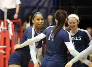 Nayketa Clair (13) and Aubrey Edie (4) were honored by the SEC for Offensive Player of the Week and Setter of the Week, respectively. (Photo credit: Joshua McCoy, Ole Miss Athletics)