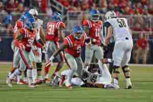 The Landshark Defense made plays when they were needed. (Photo credit: Joshua McCoy, Ole Miss Athletics)
