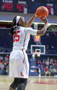 Alissa Alston led the Rebels in scoring with 17 points on 6 of 17 shooting. (Photo credit: Joshua McCoy, Ole Miss Athletics)