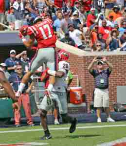 Evan Engram scores a touchdown in the win over Georgia. (Photo credit: Josh McCoy, Ole Miss Athletics)