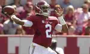 Jalen Hurts is the first true freshman to start for Alabama in 32 years. (Photo credit: MARVIN GENTRY/USA TODAY SPORTS)