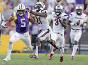LSU running back Derrius Guice (5) ran for 436 yards and three TDs as a true freshman last year playing behind Leonard Fournette, including a career-best 161 yards vs. South Carolina. (Photo credit: Brett Duke)