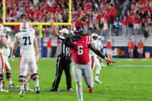 Fadol Brown, shown here against Auburn, tallied 14 tackles in the win over Georgia Southern. (Photo credit: Joey Brent, The Rebel Walk)