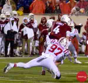 Qaadir Sheppard makes a tackle against Arkansas.