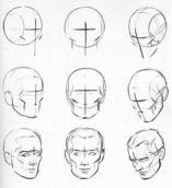 development of drawing the human face in different angles.