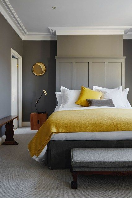 Grey and Yellow bedroom