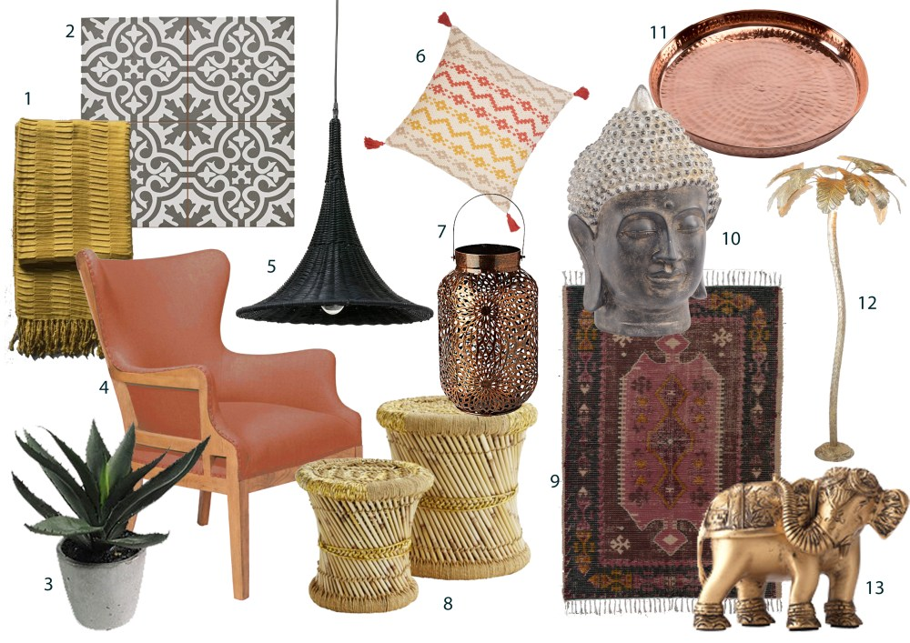Rich jewel tones, burnished metallics and sumptuous textures bring a luxurious update to the global trend. This trend works particularly well in a bedroom, bathroom or living room. Add influences from around the world, such as Moroccan rugs or tropical palm motifs. Think velvet upholstery in earthy orange and burnt umber shades, copper bowls and brass lamps.