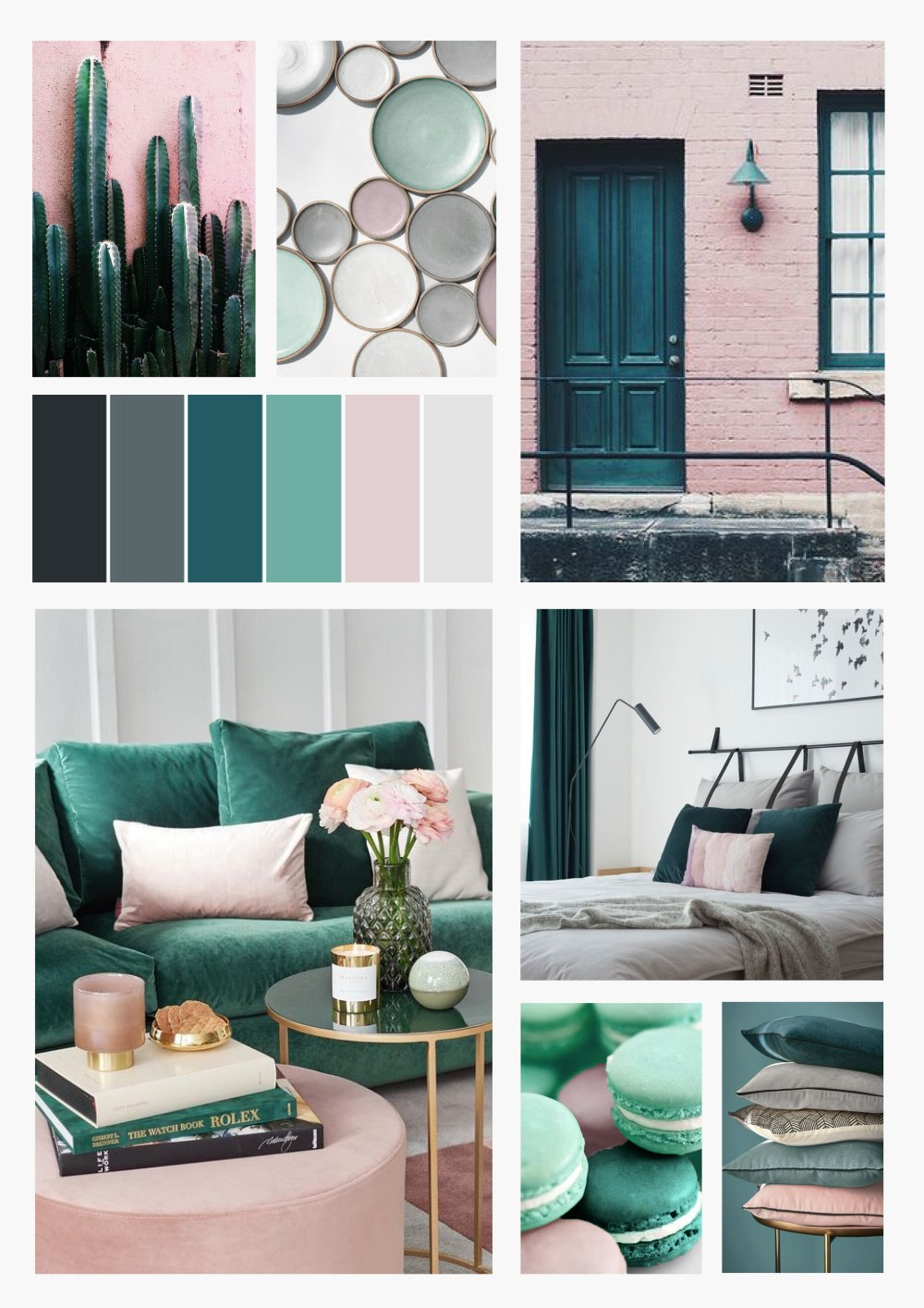 Colour scheme inspiration: Teal, blush, mint and grey