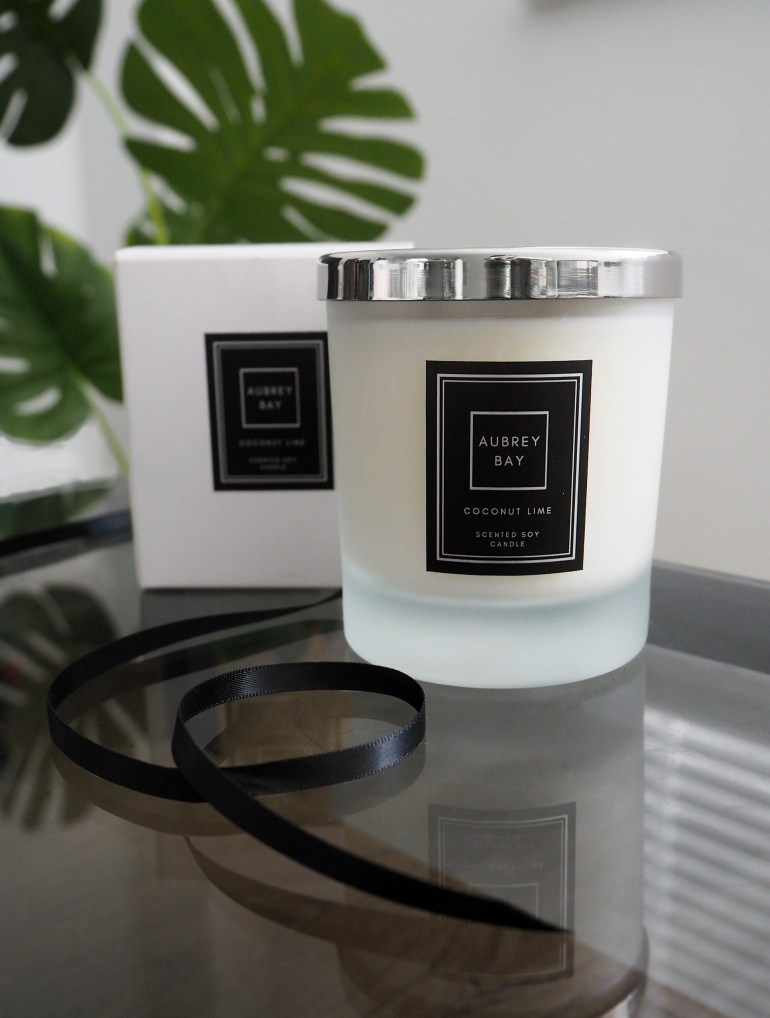 Aubrey Bay Coconut Lime soy candle packaging