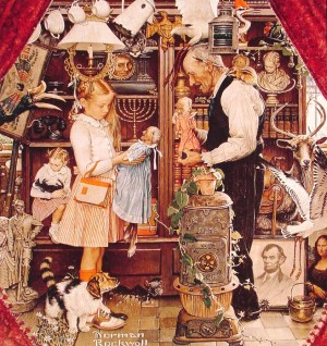 April Fool Girl with Shopkeeper - Norman Rockwell - 1948