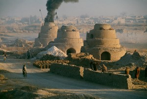 Kilns firing bricks to rebuild homes, Kandahar, Afghanistan, 1992