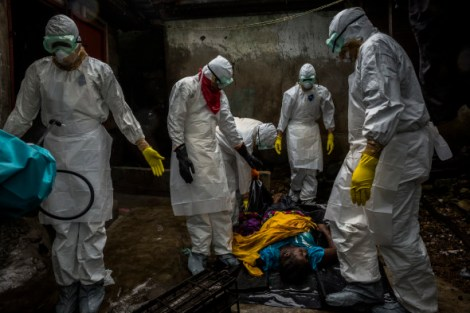 """MONROVIA, LIBERIA - SEPTEMBER 18, 2014: Members of a Liberian Red Cross burial team, under contract from the Liberian Ministry of Health, remove the body of a suspected Ebola victim Lorpu David, 30 on September 18, 2014 in the Gurley street community in central Monrovia, Liberia.""""We came here for the husband last week, we're back today for the wife, and maybe next week we'll be back for the children,"""" said Alexander Nyanti, 23, a burial team member who was recovering the body of Lorpu David, 30, in a central Monrovia neighborhood off Gurley Street. A week earlier, his team had visited the same house to retrieve the body of her husband, Sam David, the first Ebola death in that community. The couple shared one room with their two children and the wife's younger sister. """"The little boy is not feeling all right,"""" John Sackie, the community's chairman, said as four members of the burial team pulled Ms. David out of a dark room in the back of a house, each grasping a limb. But others from the community had clearly been exposed. Teddy Momo, 36, the late husband's nephew, said he had taken the ailing Ms. David to one of the city's three Ebola treatment centers, riding in the front passenger seat of a taxi as Ms. David shared the back seat with her two children and sister. Turned back because of a lack of beds, the group took the taxi back to Gurley Street. But Ms. David slipped and hit her chin on a rocky path leading to her house. A neighbor carried her home where she died immediately, Mr. Momo said. photo by Daniel Berehulak"""