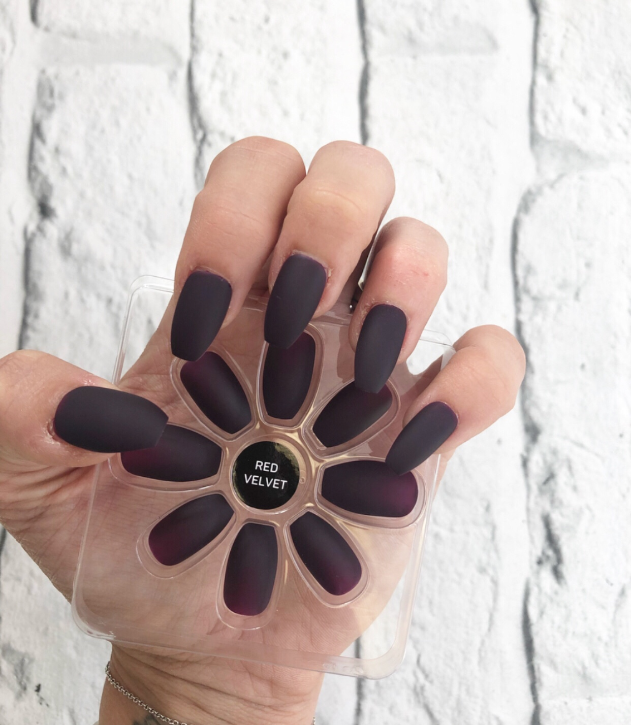 Pointed Red Velvet Matte Elegant Appearance Fashion False Nails Primark Squareletto Nail Care, Manicure & Pedicure Health & Beauty