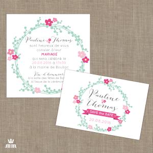 Faire-part mariage Couronne de fleur, Save the date Couronne de fleur