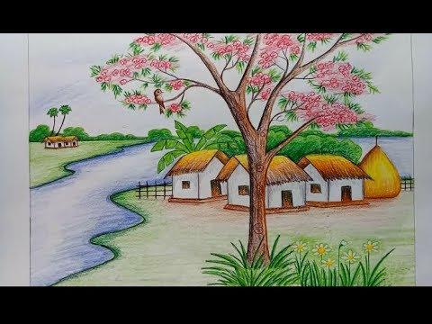 رسم منظر طبيعي باليد اجمل الرسومات باليد مساء الورد