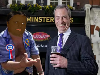 """Some of my best friends are black Romanian gays"" says Farage, trying to convince himself"