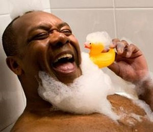 Lenny celebrates with stereotypical yellow duck