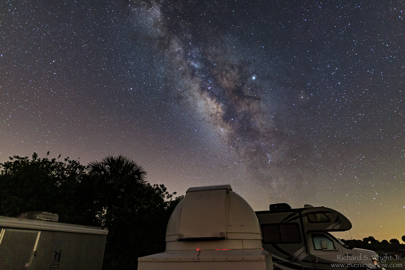 Milky Way over a dome