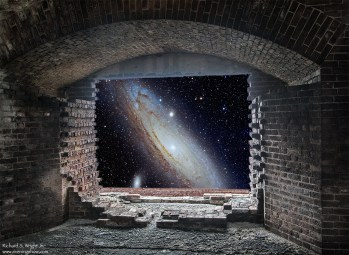 A fanciful view out a fort window to a distant galaxy.