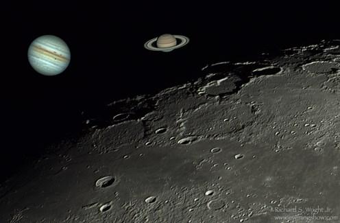 Moon, Jupiter, and Saturn