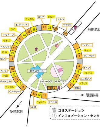 第95回外語祭の専攻語料理店のマップ