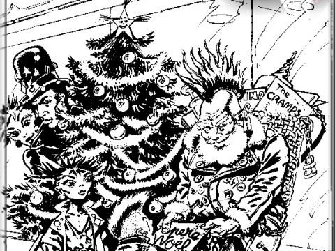 pere noel et famille punk autour du sapin