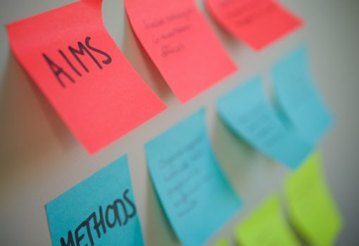 Post it notes showing aims and methods