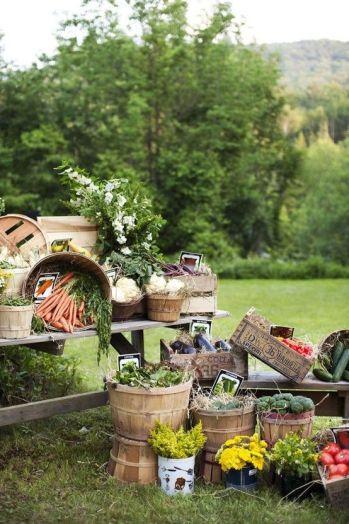Rincón decorado con verduras