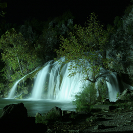 Turner Falls at night