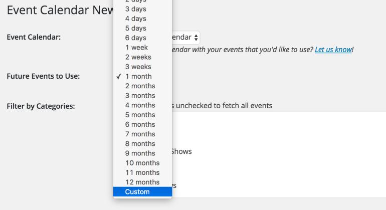 custom date range event calendar newsletter