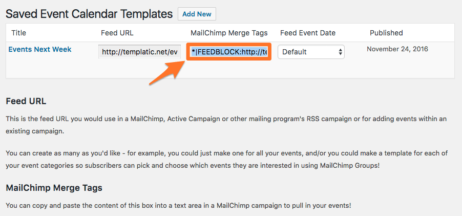 Creating An Automatic Mailing Of Your Events With MailChimp Event - Mailchimp template tags