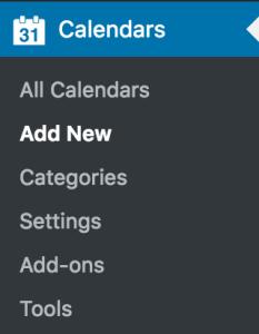 Calendars > Add New