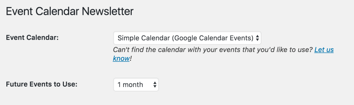 event calendar newsletter displays simple calendar option