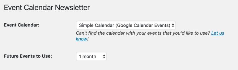 event calendar newsletter displays simple calendar option
