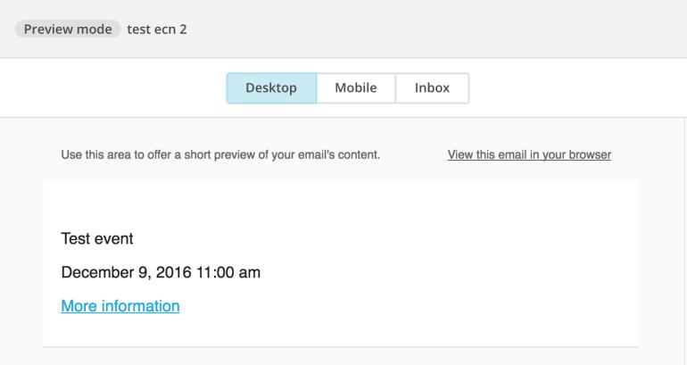 mailchimp preview events