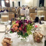 Choosing a Wedding Centerpiece | wine glasses and corks at event center at blue, Bethlehem PA Weddings