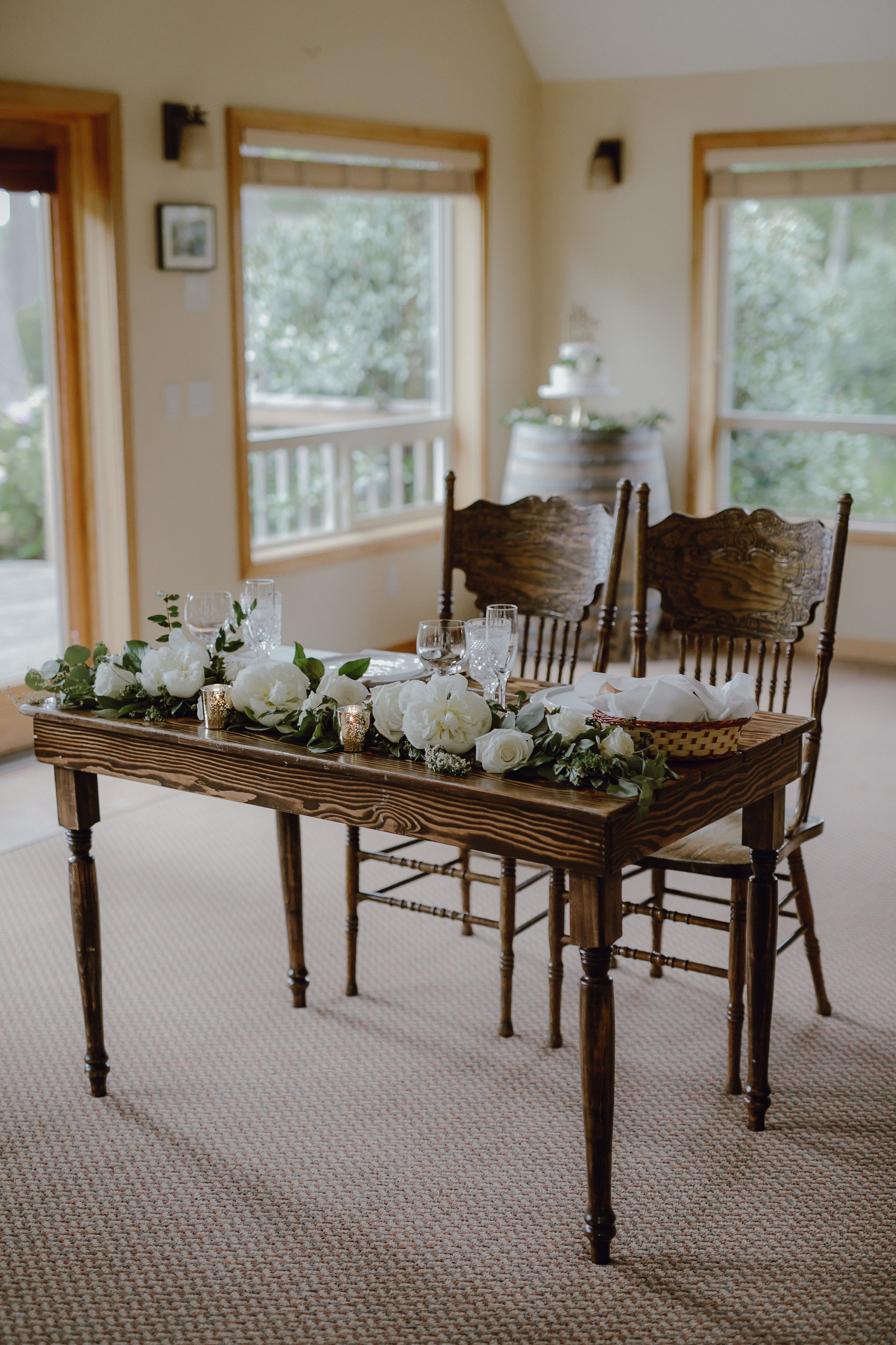Something Borrowed in Portland provided all of the wooden tables and chairs, wine barrels, and modern place settings and flatware. It was the perfect mix of rustic, modern, and elegant.