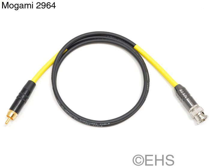 Mogami 2964 75ohm coax cable: BNC, RCA, or F-Type, EHS