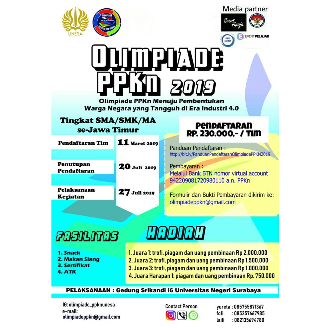 Olimpiade PPKn 2019 Tingkat SMA/SMK/MA UNESA