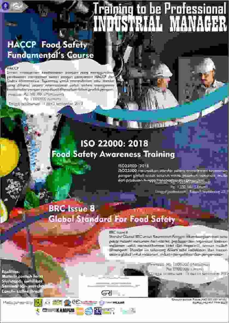 Pelatihan HACCP, ISO22000: 2018, dan BRC issue 8