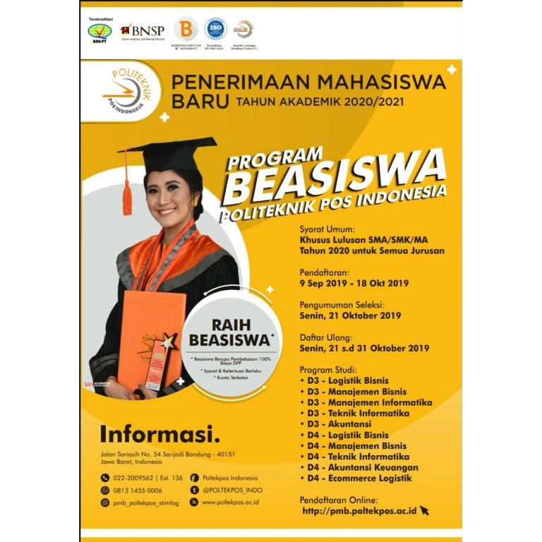 Beasiswa Politeknik Pos Indonesia 2020