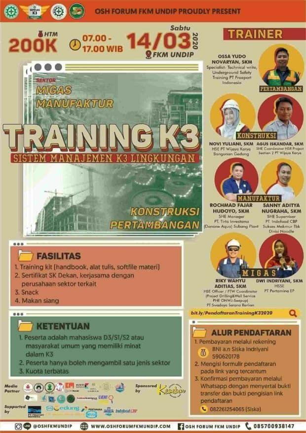 """Training K3 """"Sistem Manajemen K3 Lingkungan"""""""