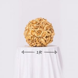 Gold Rose Ball Dimensions