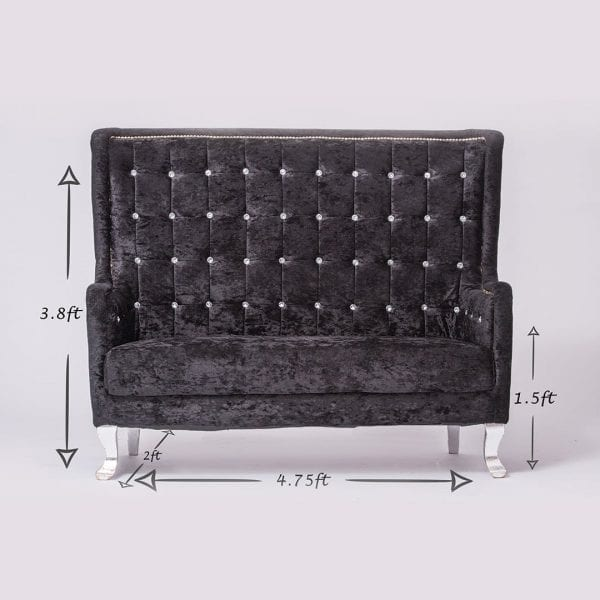 Black Tufted Velvet Loveseat